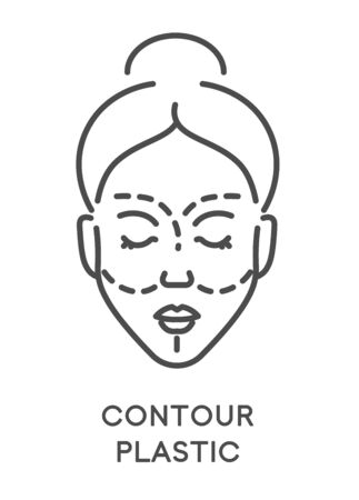 Contour plastic, woman beauty procedure or surgery, isolated icon Illustration