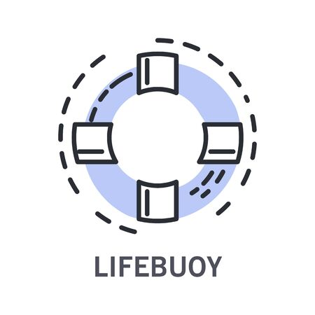 Inflatable ring or life buoy, saver or preserver, isolated marine outline object vector. Safety equipment, protection measures on ship board and beach. Striped circle, nautical or navy symbol, sailing Çizim