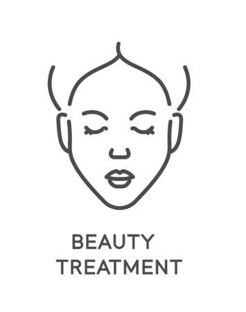Beauty treatment and facial treatment, face cleaning and care Vektorové ilustrace