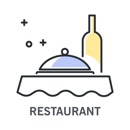 Restaurant isolated outline icon, wine bottle and tray with lid