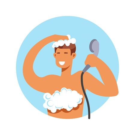 Taking shower, man in foam washing hair and body Archivio Fotografico - 132546073