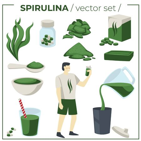 Seaweed supplement, detox nutrition, spirulina organic ingredient