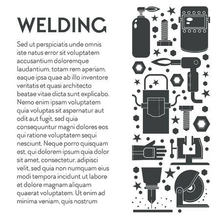 Building works, welding equipment toolkit, weld machine Ilustración de vector