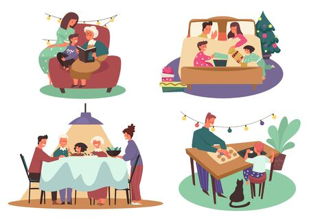 Winter holidays activity, family Christmas celebration, isolated icons vector. Parents or grandparents and children, reading book with grandmother. Exchanging presents, dinner and baking cookies Stock Illustratie