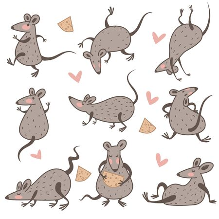 Rat with cheese, Chinese New Year symbol, isolated characters Standard-Bild - 132577285