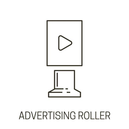 Multimedia stand, advertising roller isolated outline icon