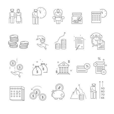 Pension and retirement isolated icons, elderly people money deposits Illusztráció