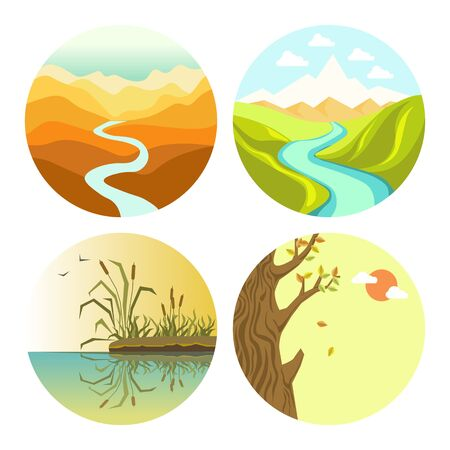 Autumn and spring or summer landscapes and nature isolated icons