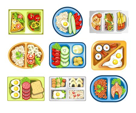 Healthy food, lunch on tray, school snack isolated icons