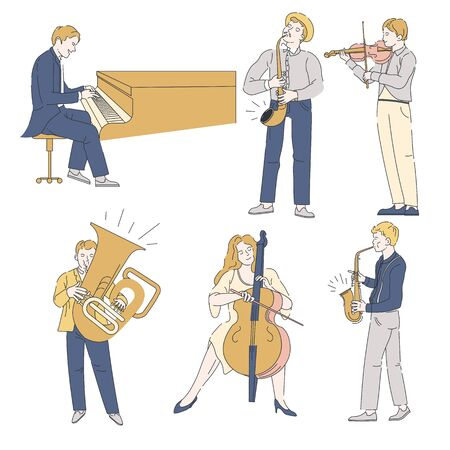 Musicians with musical instruments, jazz or classic music, isolated characters
