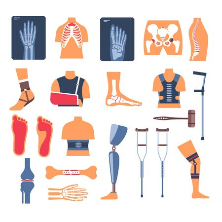 Injury recovery, bone fracture and crutches, X-ray and orthopedic tools 일러스트