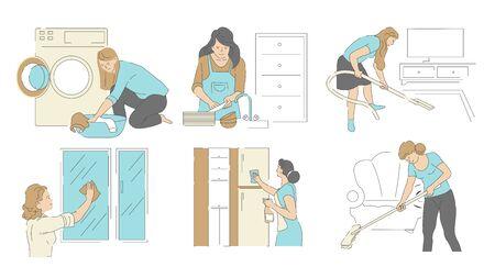 Huishoudelijk werk, huis en was schoonmaken, huishouden en huishoudelijke taken Vector Illustratie