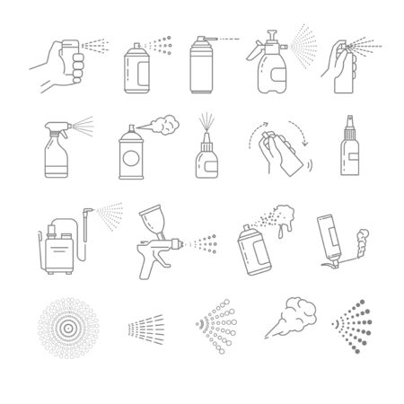 Sprays isolated icons, aerosol and airbrush, graffiti tool and automizer Ilustração