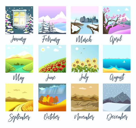 Nature landscapes, four seasons months calendar isolated icons Illustration