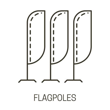 Flagpoles isolated liner icon, beach flag, advertising banners Illustration