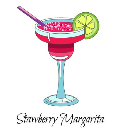 Cocktail drink, strawberry margarita with lime and straw, isolated icon