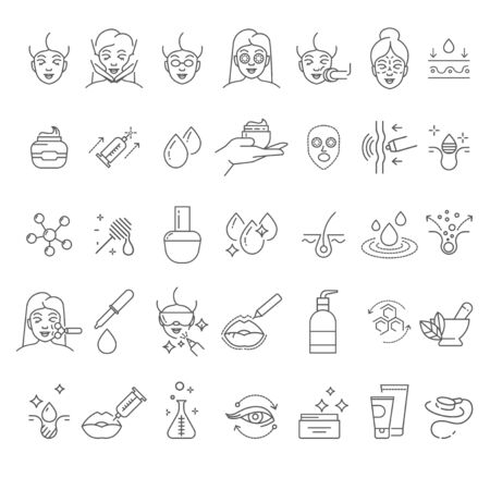 Skincare and cosmetology, beauty therapy and healthcare, isolated linear icons Archivio Fotografico - 132867955