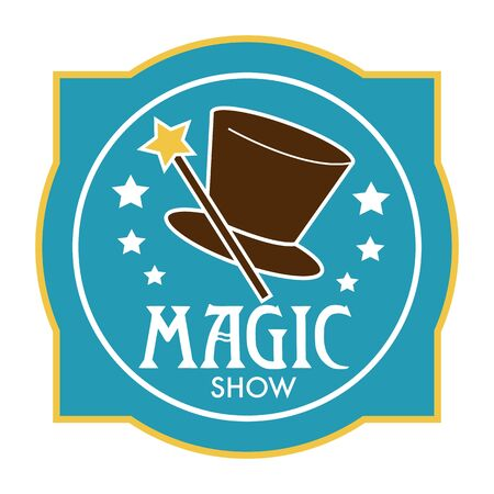 Magic wand and cylinder hat isolated icon, magician show Illustration
