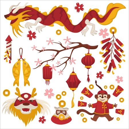 Chinese New Year symbols, winter holiday celebration, isolated icons vector. Dragon and sakura tree, gold fish and firecracker, lucky coins in sack and monkey. Red envelope and lanterns, China culture