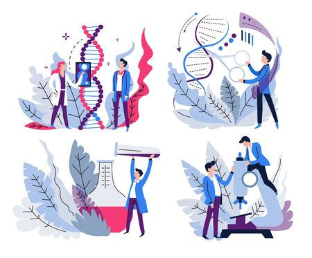 DNA research, genetics science and lab test, isolated icons