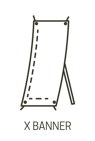 Promotional presentation stand, X banner isolated linear icon