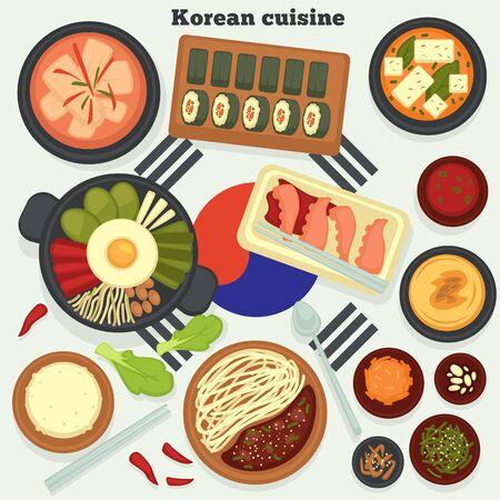 Travel to Korea Korean cuisine traditional dishes and meals vector kimchi soup and rolls hobak juk and bibimbap jajangmyeon and octopus rice and seaweed konggunksu national cooking and culinary
