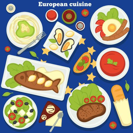 Food of Europe European cuisine dishes and meals desserts vector pasta and oysters fried egg and sausages baked fish and tomato soup steak and bruschetta Greek salad and baguette chocolate cake Ilustracja