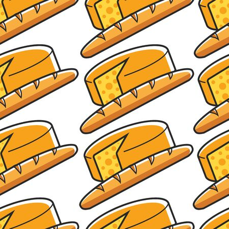France cuisine French cheese and baguette seamless pattern vector traveling and tourism national food bread and dairy product culinary and cooking endless texture bakery and nutrition Paris meals Ilustracja