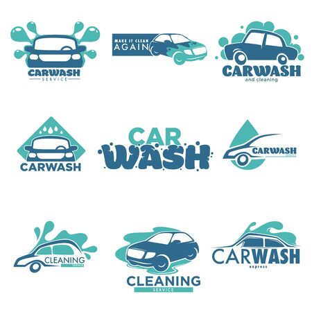 Car cleaning service carwash station isolated icons vehicle and transport vector washing dirty transport water and foam cleanliness and hygiene transportation emblem or logo automobile maintenance