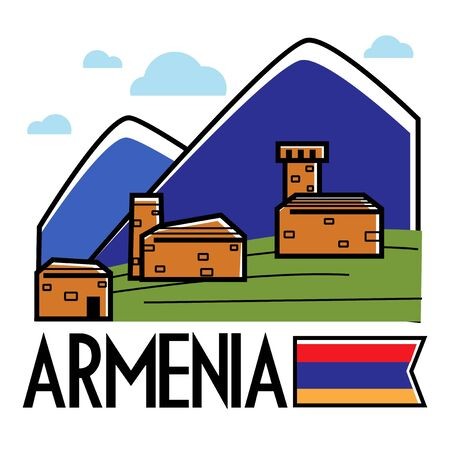Ancient Armenian buildings in mountains Armenia traveling and tourism vector nature and architecture mounts and brick constructions national flag landscape or view journey or trip to Caucasus