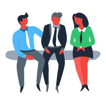 Business and finance businessman and businesswoman teamwork and cooperation vector office employees brainstorming cooperation and co-working colleagues discussing work and job entrepreneurs in suits Ilustração