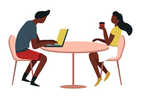 Cafe or canteen man and woman at table with coffee and laptop vector isolated male and female African American characters hot beverage and portable computer break or business lunch employees Ilustração