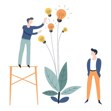 Business or startup growing and collecting ideas concept office worker and plant with light bulbs vector employees colleagues or coworkers entrepreneurs invention and great thought indoor flower