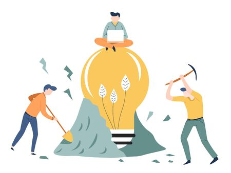 Finding idea business concept startup light bulb vector mining or digging ground teamwork man with laptop creativity invention and solution hard work men with spade and pickaxe project creation Иллюстрация