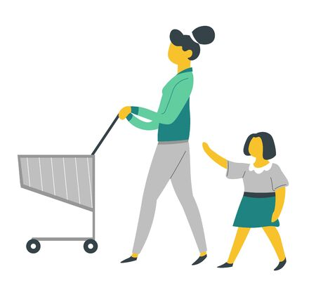 Parenthood and child care mother and daughter on shopping with supermarket cart vector trolley or pushcart mom and kid buying food bringing up infant little girl and mommy daily routine weekend Ilustrace