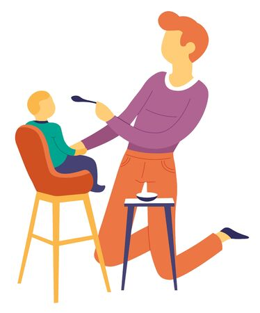 Fatherhood father feeding son baby on high chair vector isolated male character dad and child nutrition in bowl kid care bringing up infant or offspring family parent daddy on knees with spoon