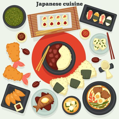 Oriental food and seafood Japanese cuisine dishes and meals vector sushi and rolls seaweed or miso soup and rice with meat deep-fried shrimps roasted fish and ramen onigiri soy sauce and chopsticks Illustration
