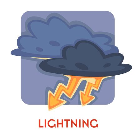 Lightning or thunder natural disaster danger and life threat vector isolated icon electricity discharge blizzard environmental problem rainstorm or rainfall rainy weather emblem or logo climate