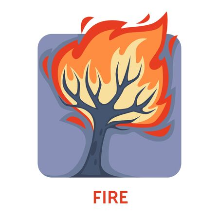Fire natural disaster wildfire tree in flame isolated icon vector environmental problem danger forest destruction hot weather and human fault ecology destructive element awareness nature protection Banco de Imagens - 132868704