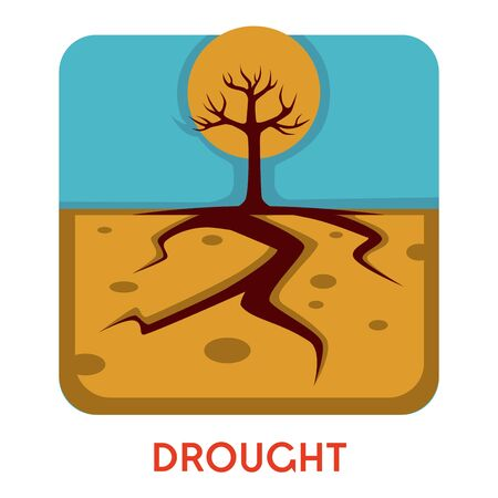Dry earth and tree drought natural disaster hot weather isolated icon vector landscape desert cracks in ground high atmospheric temperature vegetation extinction environmental problem emblem or logo Иллюстрация