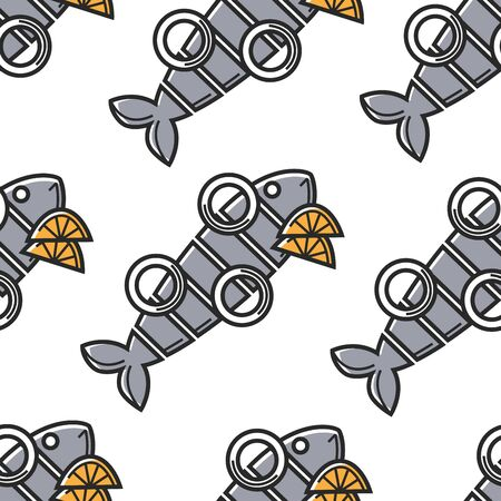 Seafood seamless pattern Netherlands cuisine fish with onion rings and lemon vector herring with citrus fruit slices endless texture national food cooking and culinary recipe wallpaper print