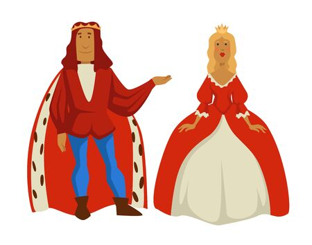 Medieval royal family king and queen monarchy vector isolated male and female characters in gold crowns man in fur cloak and woman in ball gown husband and wife fairytale kingdom and history
