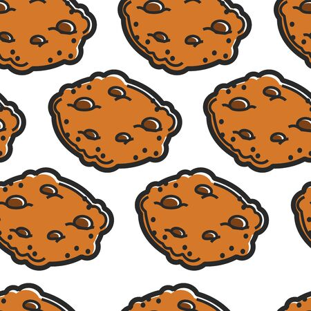 Chocolate cookies seamless pattern Scottish cuisine bakery vector traditional Scotland food treat or dessert snack and breakfast crispy baked dough and sweet crumbs endless texture tourism