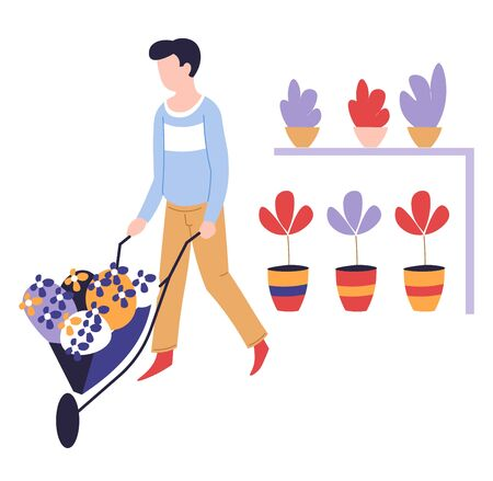 Man with wheelbarrow and potted plants home gardening hobby vector botany science guy carrying indoor flowers on cart shelves with house greenery or vegetation cultivation and growing floristry