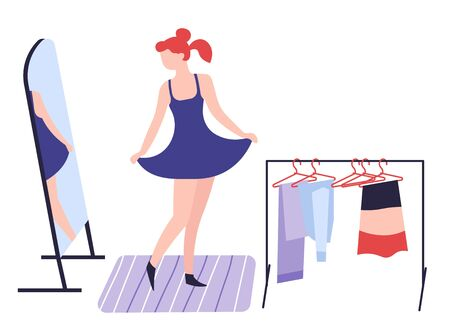 Girl dressing up in front of mirror clothes and fashion shopping hobby Illustration