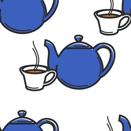 English tea ceremony seamless pattern teapot and cup