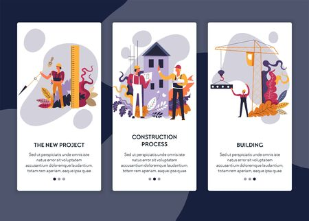 Architectural project construction process and building web page template