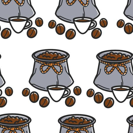 Coffee beans in sack and cup of Brazilian drink seamless pattern