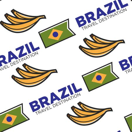 Brazil travel destination national flag and banana fruit seamless pattern