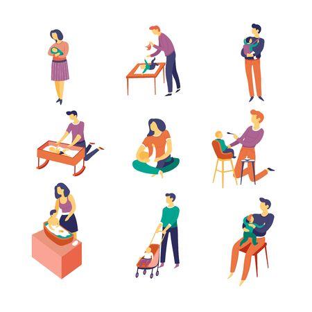 Neugeborene und Babypflegeeltern und isolierte Charaktere Vektor Mann und Frau, Vater und Mutter, Sohn oder Tochter, die schlafen und Windeln wechseln, gehen und füttern, baden und spielen, erziehen